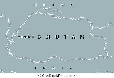 carte, politique, bhoutan