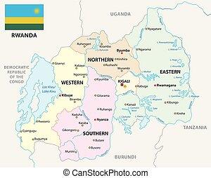 carte, politique, drapeau, vecteur, rwanda, administratif