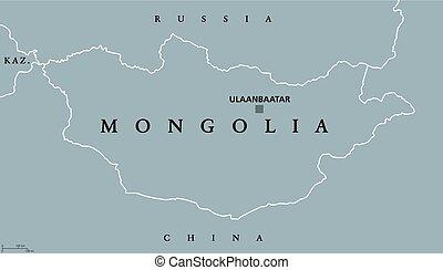 carte, politique, mongolie