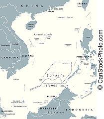 carte, politique, porcelaine, mer, îles, sud