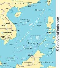 carte, politique, porcelaine, sud, mer, îles