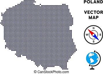 carte, pologne, pixelated