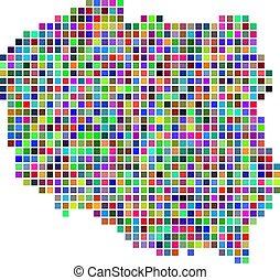 carte, pologne, point, multicolore