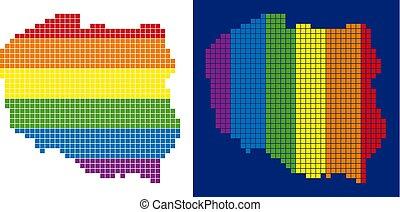 carte, pologne, spectre, pointillé, pixel