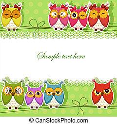 carte postale, à, trois, hiboux