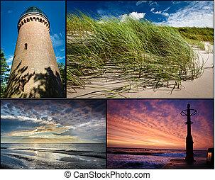 carte postale, été, mer, baltique