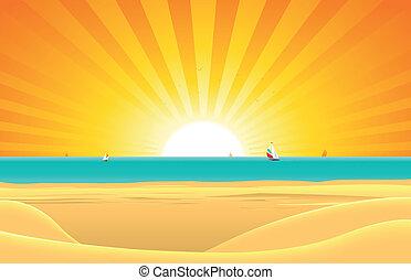 carte postale, été, plage, fond, voilier