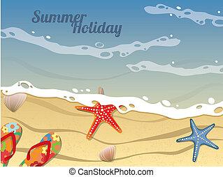 carte postale, été, plage