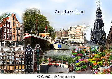 carte postale, amsterdam, collage