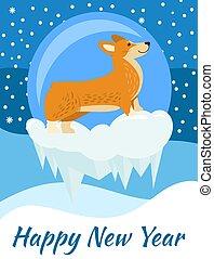 carte postale, année, chien, nouveau, corgi, heureux, vue côté