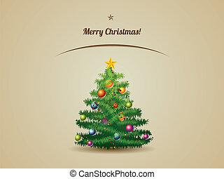 carte postale, arbre, noël