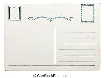 carte postale, blanc, vieux, isolé