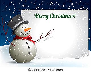carte postale, bonhomme de neige, noël