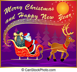 carte postale, cerf, santa, traîneau, fête
