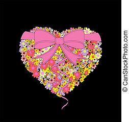 carte postale, coeur, fleurs