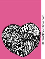 carte postale, coeur, patchwork