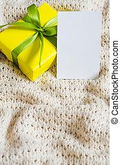 carte postale, couverture, tricoté, arrière-plan., présent, vide, beige