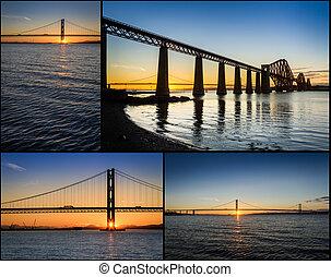 carte postale, depuis, coucher soleil, sur, les, forth, route, pont, dans, ecosse