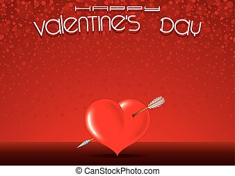 carte postale, horizontal, valentines, gabarit