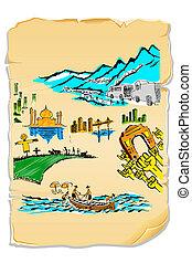 carte postale, inde