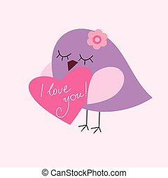 carte postale, jour valentine, à, a, oiseau