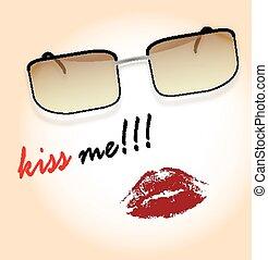 carte postale, lèvres, lunettes