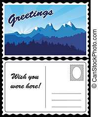 carte postale, montagne, voyage, paysage