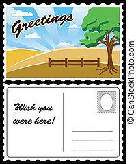carte postale, pays, voyage, paysage