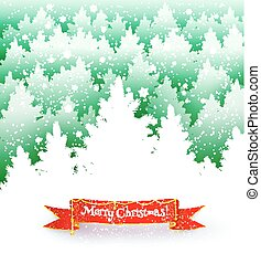 carte postale, paysage hiver