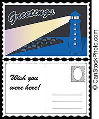 carte postale, phare, voyage, océan