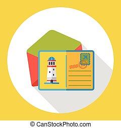 carte postale, plat, voyage, icône