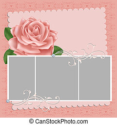 carte postale, porte-photo, vide, mariage, ou