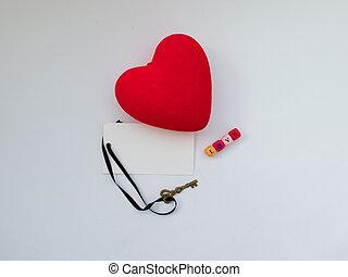 carte postale, pour, jour valentine, à, coloré, lettres, et, coeur