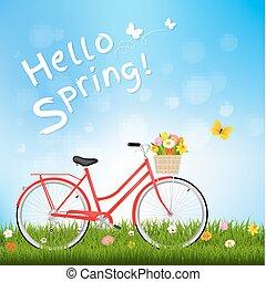 carte postale, printemps, papillon, bonjour