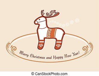 carte postale, reindeer., gingerbread., noël, vendange