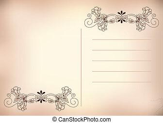 carte postale, rose