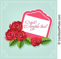 carte postale, rose, vecteur, illustration
