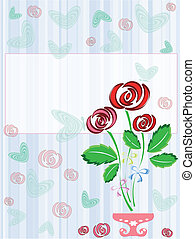 carte postale, roses