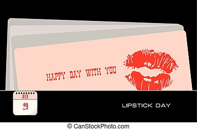 carte postale, rouge lèvres, jour