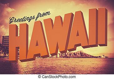 carte postale, salutations, retro, hawaï