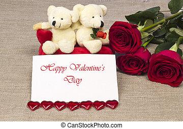 carte postale, sur, saint-valentin, à, roses, et, jouet