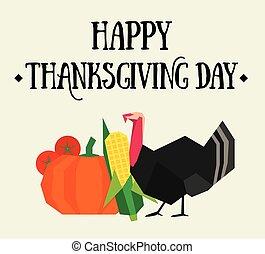 carte postale, thanksgiving, heureux