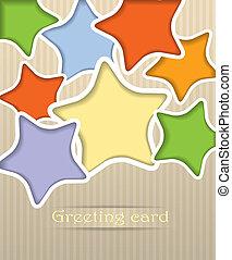 carte postale, vecteur, étoiles, illustration