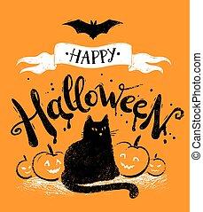 carte postale, vecteur, halloween, heureux