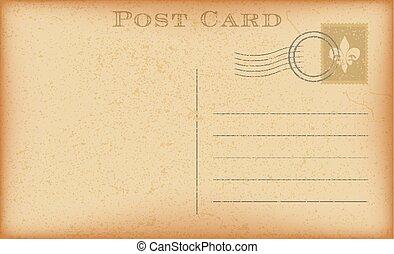 carte postale, vecteur, vieux, illustration., stamp.