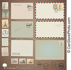 carte postale, vendange, conceptions, vecteur, stamps., enveloppes, set: