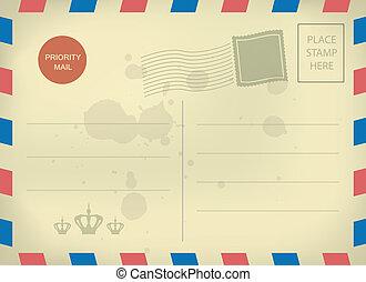 carte postale, vendange, gabarit, vide