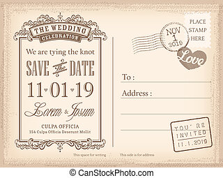 carte postale, vendange, invitation, fond, mariage, date, sauver