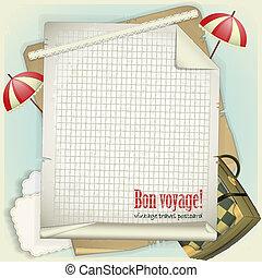 carte postale, vendange, voyage