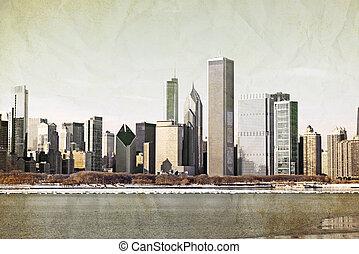 carte postale, -, vieux, conception, chicago